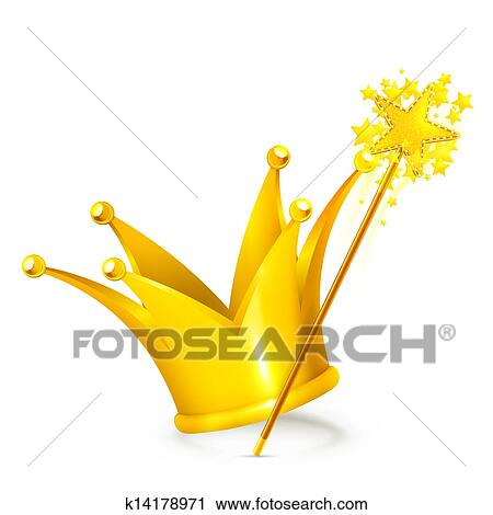 Clipart of Magic wand and crown k14178971 - Search Clip Art ...