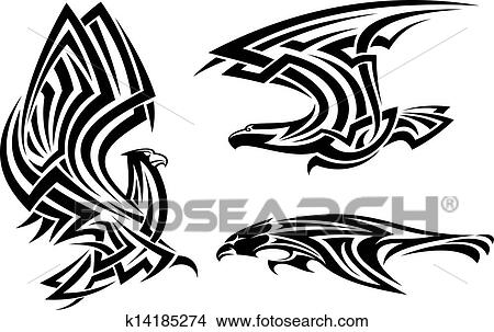 Clipart of Tribal eagle, hawk and falcon k14185274 ...