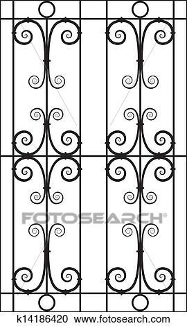 clipart fer forg233 fen234tre conception silhouette