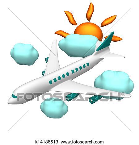 手绘图 - 空气飞机, 同时