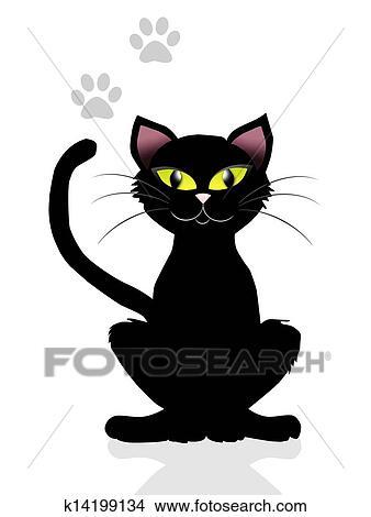 手绘图 - 黑色的猫图片