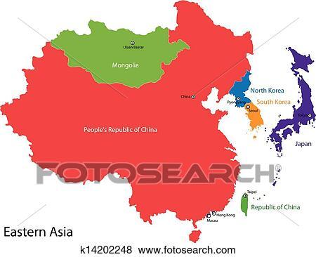 - 东亚, 地图