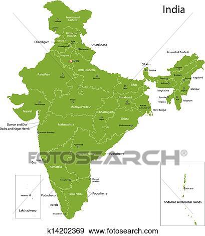 地理课本的印度地图