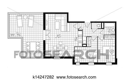 Three Room Apartment clip art of three-room apartment black and white drawing k14247282