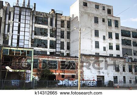 Stock image of abandoned detroit factory k14312665 for Detroit mural factory