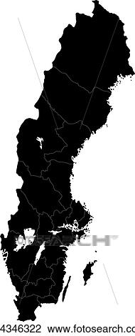 Clipart Of Black Sweden Map K Search Clip Art - Sweden map search