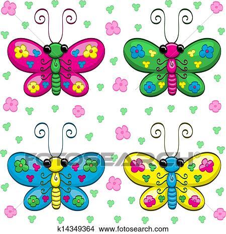 一, 描述, 在中, 漂亮, 卡通漫画, 蝴蝶, 花, 同时,, leaves.图片