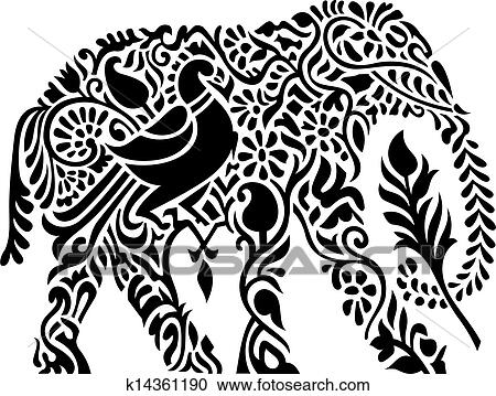 clipart of decorative indian elephant k14361190 search clip art illustration murals drawings. Black Bedroom Furniture Sets. Home Design Ideas