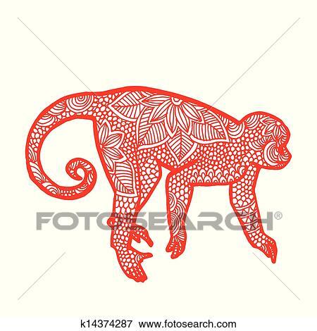剪纸图案猴子简单图解