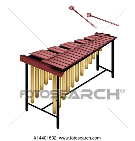 Clipart of A Musical Marimba Isolated on White Background ...