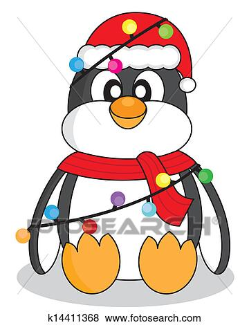 clip art pinguin mit weihnachtsbeleuchtung k14411368. Black Bedroom Furniture Sets. Home Design Ideas
