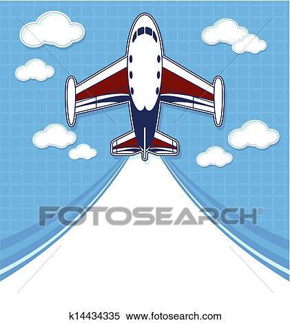clipart, copyspace, 云, 做广告, 凝结尾流, 剪贴簿, 卡通漫画, 喷射, 图, 图表, 天空, 孩子, 描述, 有趣, 概念, 漂亮, 玩具, 矢量, 私人, 空气, 空白, 童年, 绿色, 背景;, 航空, 车辆, 运输, 飞机, 飞行, 插画,图画,剪贴画,图像,图片,绘图,美术作品, 免版税, k14434335