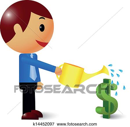 Clip Art of Businessman watering a money tree k14452097 - Search ...