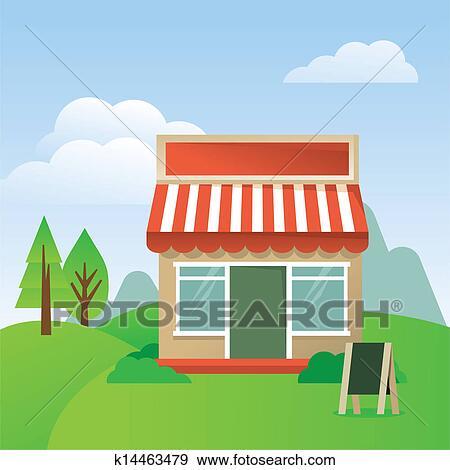 剪贴画 商店, 房子, 带, 有条纹, 遮篷