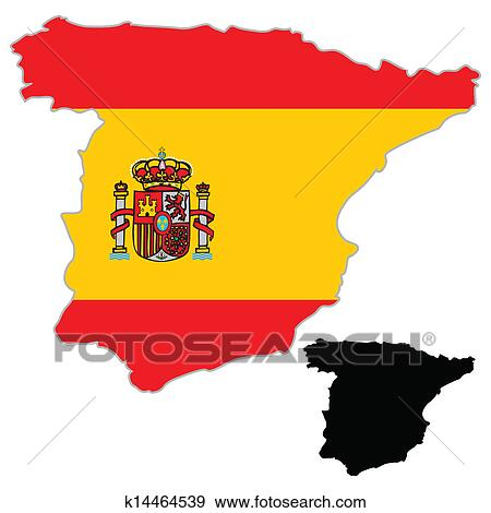 地囹kΈ�_剪贴画 - 西班牙, 地图, 旗 k14464539 - 搜寻图样
