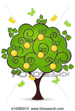 剪贴画 - 桔子树图片
