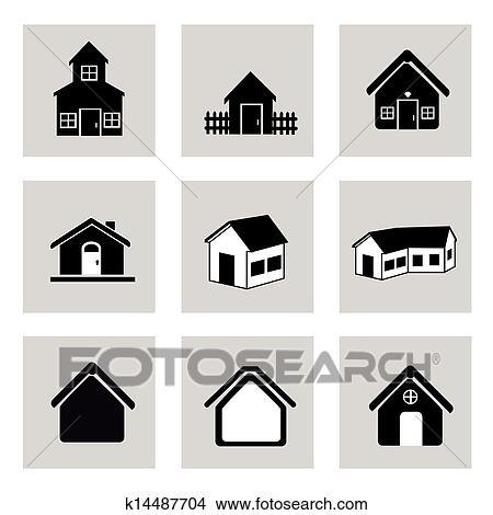 剪贴画 房子, 图标