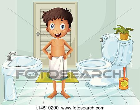 Clipart of A boy in the toilet k14510290 - Search Clip Art ...