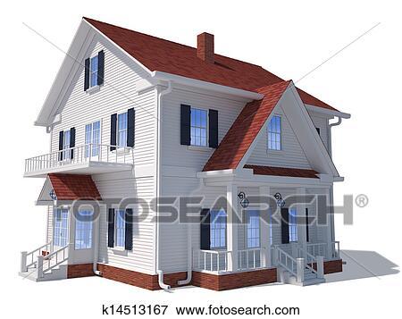 archivio illustrazioni 3d casa esterno k14513167