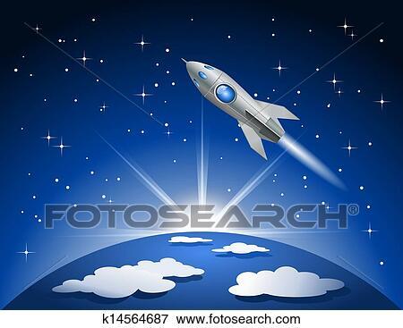 clip art rakete fliegen in raum k14564687 suche clipart poster illustrationen. Black Bedroom Furniture Sets. Home Design Ideas