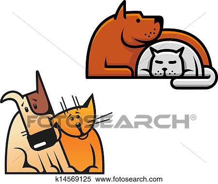 Clipart amicizia di cane e gatto k14569125 cerca for Gatto clipart