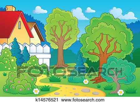 剪贴画 - 树, 主题, 风景