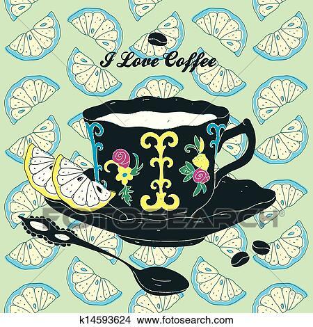 手绘图 - 巨大, 咖啡的杯