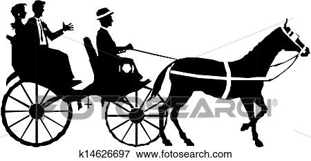 Clip Art of couple on horse and carriage k14626697 - Search Clipart, Illustration Posters ...
