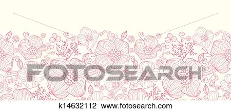 Lines Clipart Clipart Red Line Art Flowers