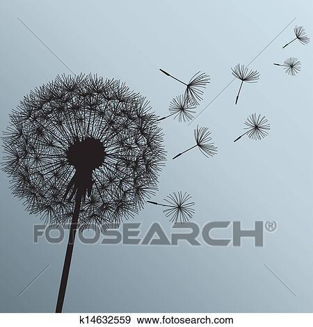 Clipart fleur pissenlit sur arri re plan gris - Dessin fleur pissenlit ...