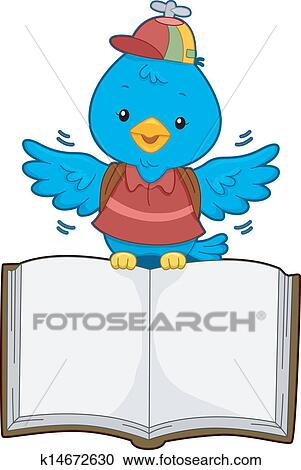 Clipart of Bird with Open Book k14672630 - Search Clip Art ...