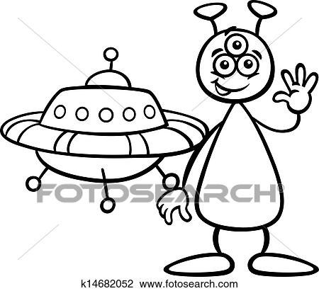 Clipart of alien with ufo for coloring book k14682052 for Cartoon alien coloring pages