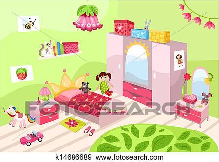 clip art m dchen zimmer k14686689 suche clipart poster illustrationen zeichnungen und eps. Black Bedroom Furniture Sets. Home Design Ideas