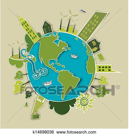 Clip art of green concept earth k14698036 search clipart for Environmental graphics giant world map wall mural