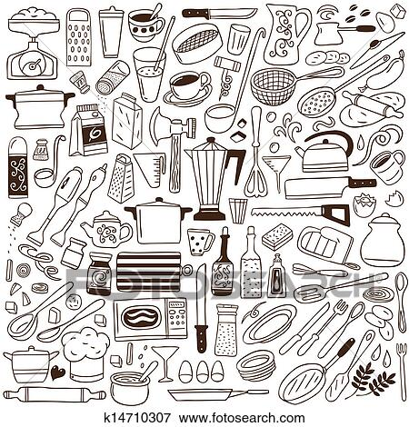 Kitchen Tools Drawings clip art of kitchen tools - doodles collection k14710307 - search