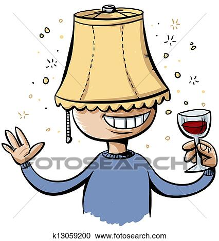 Stock Illustrations Of Lampshade Drunk K13059200