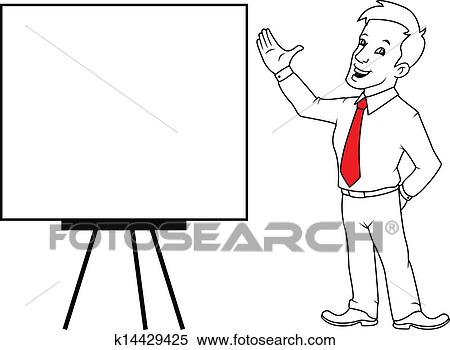clipart of man with white board k14429425 search clip art rh fotosearch com whiteboard clipart whiteboard pen clipart