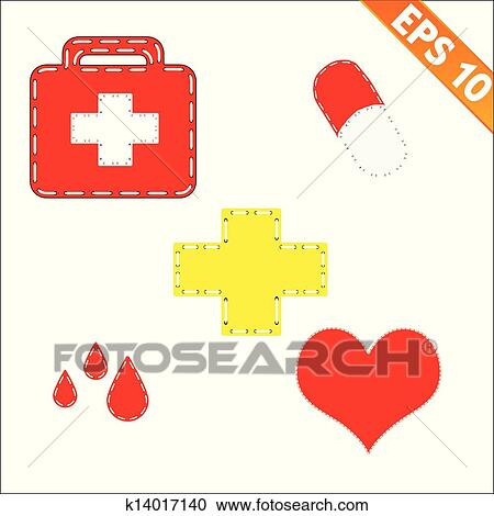 Clipart Of Medical Symbol With Stitch Style Background Vector