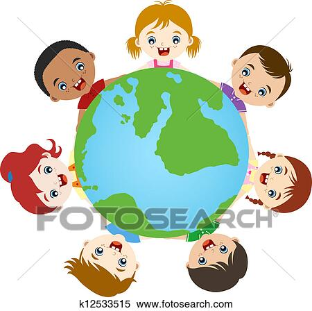 stock illustration of multicultural children hand in hand k12533515 rh fotosearch com multicultural faces clip-art multicultural clip art from around the world