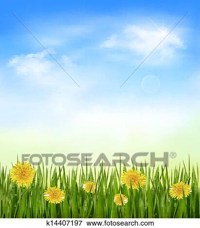 grass field background with flowers. Clip Art - Nature Background With Green Grass And Flowers Blue Sky. Vector. Field O