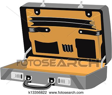 clipart of open case vector k13356822 search clip art rh fotosearch com open suitcase clipart black and white Suitcase Vector