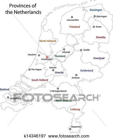 Colorful Netherlands Map With Regions And Main Cities Art Print by Volina  at Art.com