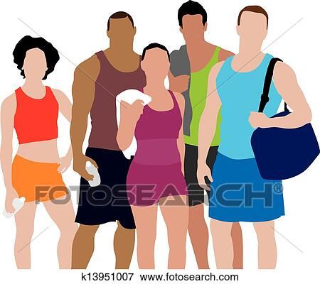 clip art of people working out illustration k13951007 search rh fotosearch com People Picking Selection Clip Art People at Work