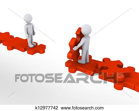 Clip Art of Person offering help to another on puzzle path ...