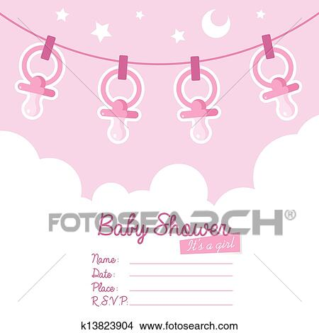 Clipart Of Pink Baby Shower Invitation With Pa K13823904 Search