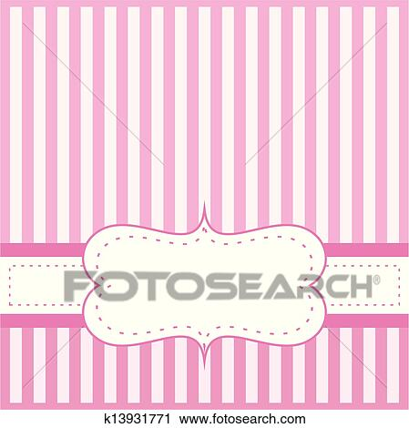 Clipart of pink vector card invitation k13931771 search clip art pink vector card invitation for baby shower wedding or birthday party with white stripes cute background with white space to put your own text stopboris Images