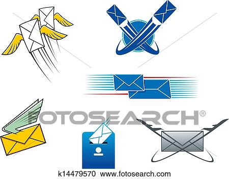 Clipart Of Post Mail And Letters Symbols K14479570 Search Clip Art