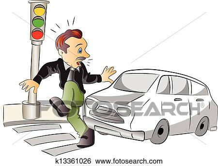Person Getting Hit By A Car Drawing