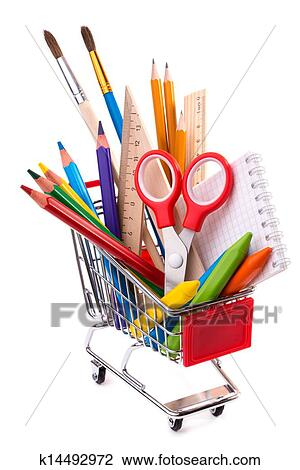 Büromaterial clipart  Stock Photo of School or office supplies, drawing tools in a ...