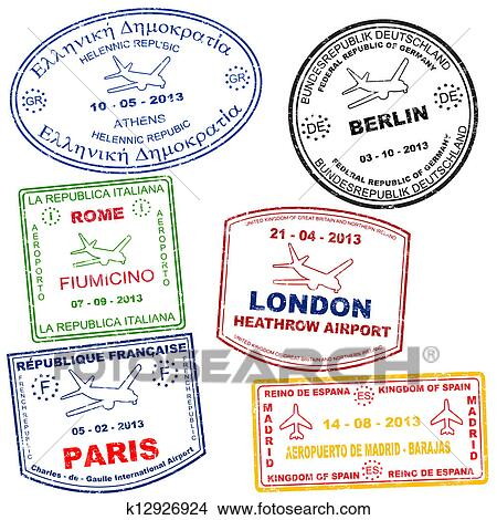 clipart of set of passport stamps k12926924 search clip art rh fotosearch com country passport stamps clipart passport stamps clipart
